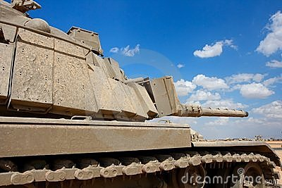Old Israeli Magach tank near the military base in