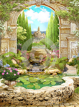 Free Old Italian Arch Covered With Flowers With View Of The Park Stock Photos - 80875663