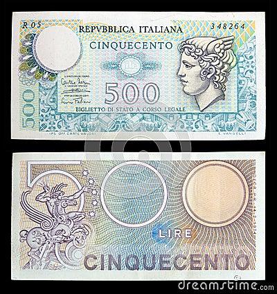 Old italian banknotes