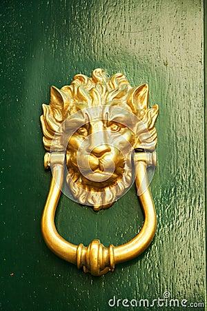 Old Italian lion shape door knocker on green wood