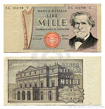 Old Italian Money Stock Photo