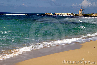 Old Italy ,Sicily, sea windmill near Trapani-city