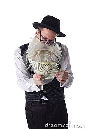 Old jew with dollar bills