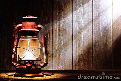 Old Kerosene Lantern Lamp in Rustic Country Barn
