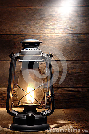 Old Kerosene Lantern Light in Rustic Country Barn