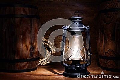 Old Kerosene Lantern Light in a Vintage Warehouse