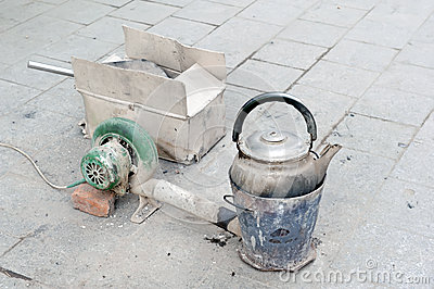 Old kettle on the Chinese street.