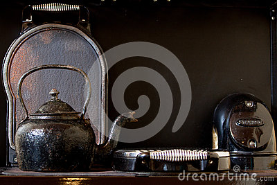 Old kettle on the stove