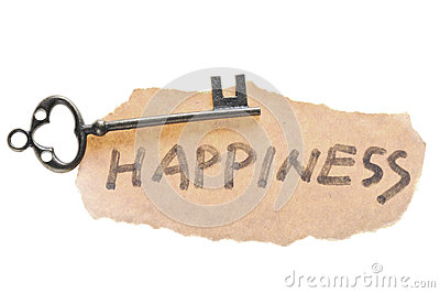 Old key and happiness word