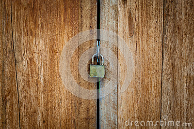 Old Key Lock on Close Wood Door