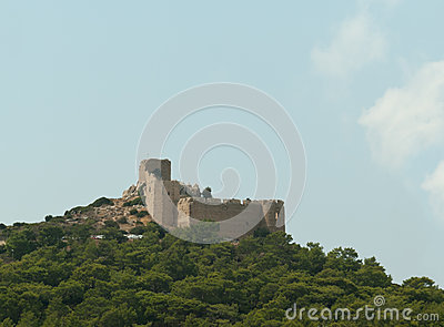 The old Kritinia castle of knights on the Rhodes