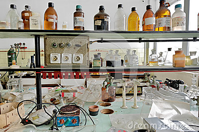 Old laboratory with a lot of bottles