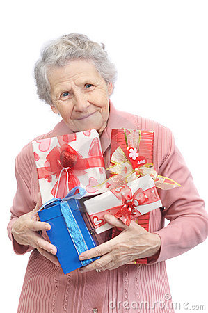 Old lady and boxes with gifts