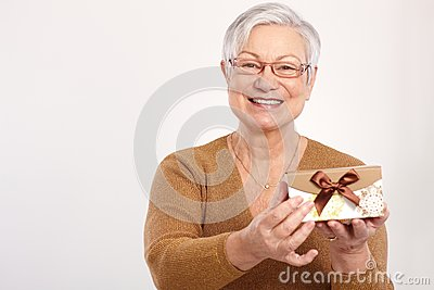 Old lady with fancy present