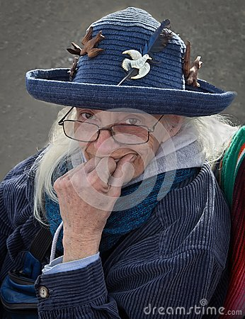 Free Old Lady In Vintage Hat. Stock Photos - 109459323