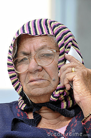 Old lady on phone