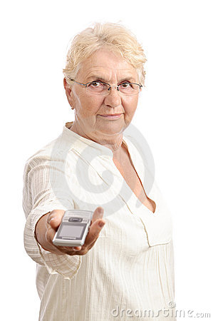 Old lady showing cell phone