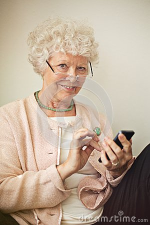 Old Lady Using Her Cellphone to Text