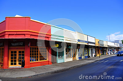 Old Lahaina storefronts, Maui Editorial Photography