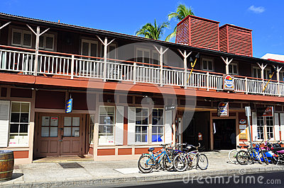 Old Lahaina storefronts, Maui Editorial Photo
