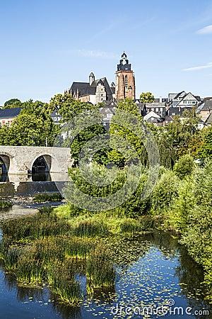 Free Old Lahn Bridge And View To Wetzlar Dome Stock Image - 42206631