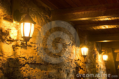 Old Lamps on Ancient Wall
