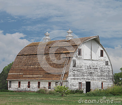 Old large white wooden barn with curved roof.