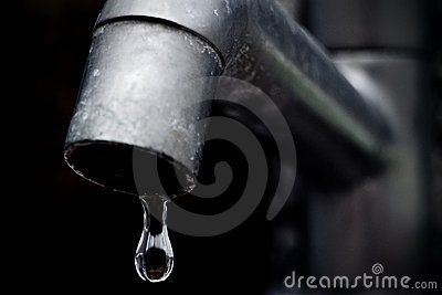Old Leaky Faucet Focus On Water Drop Royalty Free Stock ...
