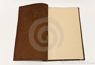 Old leather brown notebook