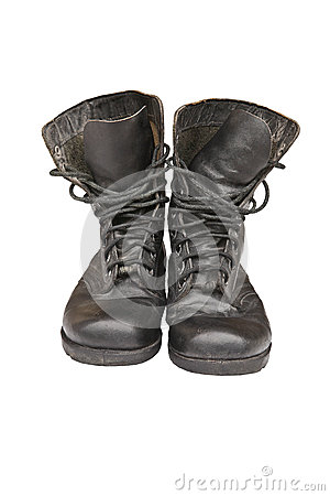Old leather military boots