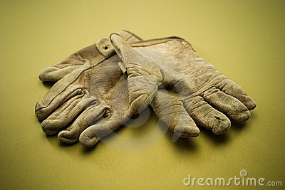 Old leather work gloves
