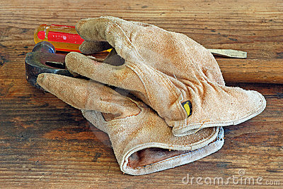 Old Leather Work Gloves and Tools