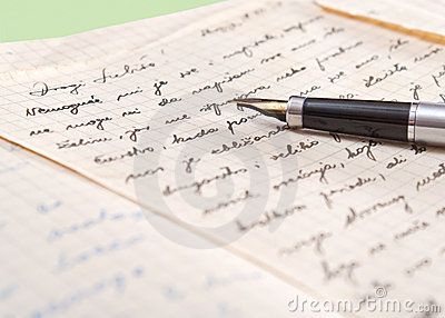 Old letter and fountain pen