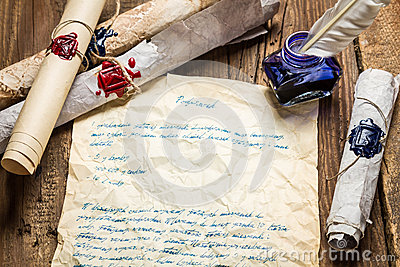 Old letter written bird pen and sealed sealant