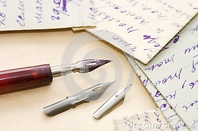 Old letters and pen