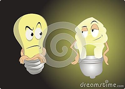 Old light bulb vs energy saving