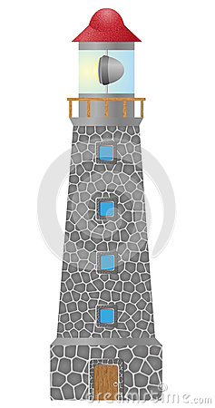 Old lighthouse built in stonel vector illustration