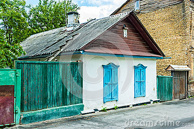 Old Little Houses in Kiev Editorial Photography