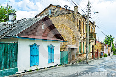 Old Little Houses in Kiev Editorial Stock Image