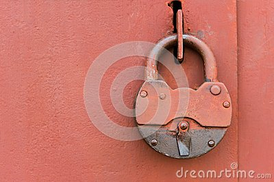 Old lock on metal door