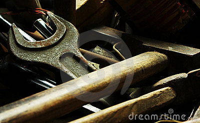 Old locksmith tools on the dark