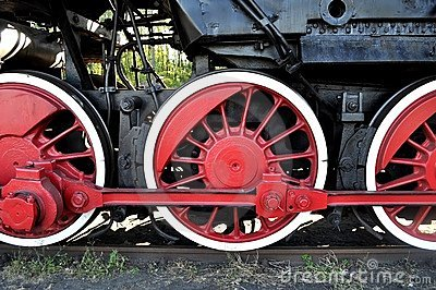 Old locomotive red wheels