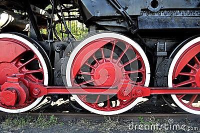 Old locomotive red wheels
