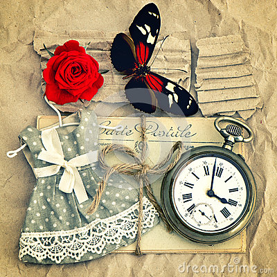 Old love mails, vintage pocket watch, red rose flower and butter Stock Photo