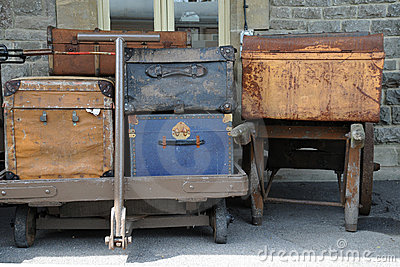 Old luggage on carts