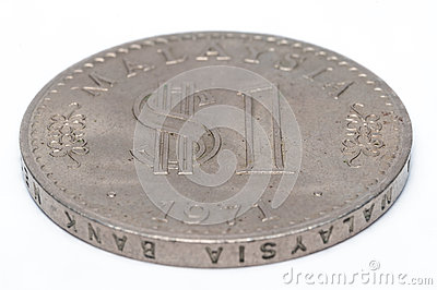 Old Malaysian Coin on a white background