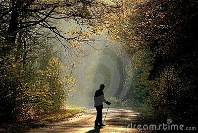 old man in autumn forest at sunrise