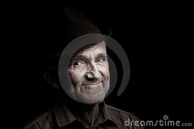 Old man with black hat