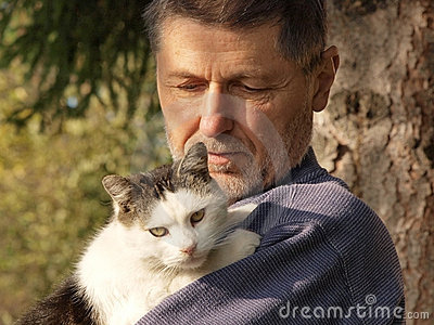 Old man with a cat