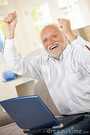 Free Old Man Celebrating With Laptop Royalty Free Stock Image - 16618166